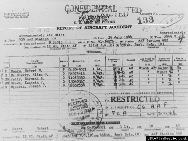 USAAF crash report scan