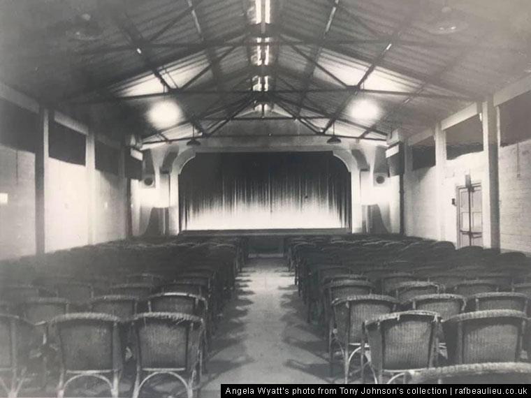inside a WW2 airfield cinema