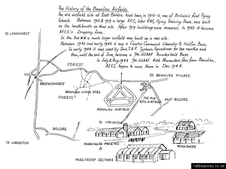 Alan Brown sketch of history of Beaulieu Airfield