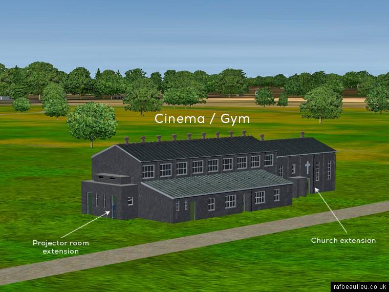 ww2 airfield cinema building with chancel